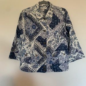Coldwater Creek Coat 3/4 Sleeve Paisley Size 10